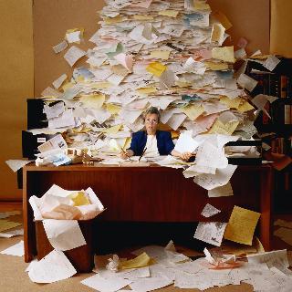 Paperwork piled
